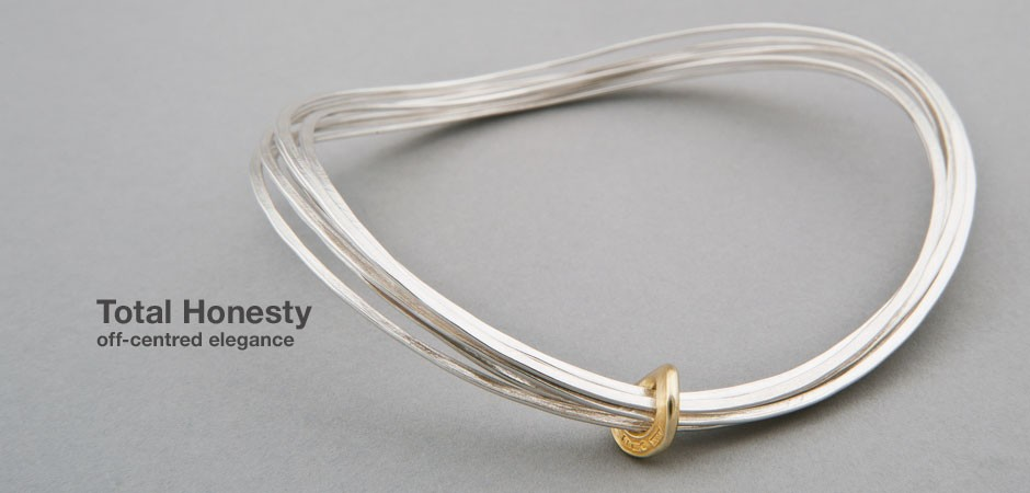 Total Honesty Bangle Silver with 18ct gold
