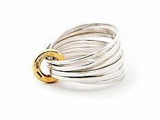 Latham & Neve Collections - Ripple - Ripple Multi Ring silver with 18ct gold
