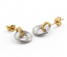 Latham & Neve Collections - Ripple - Ripple duo drop earrings silver with gold