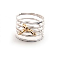 Latham & Neve Collections - Nova - Ripple Sprung Ring silver with gold