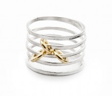 Latham & Neve Collections - Ripple Duo - Ripple Sprung Ring silver with gold