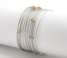 Latham & Neve Collections - Ripple - Ripple Sprung Bangle Silver with 18ct gold